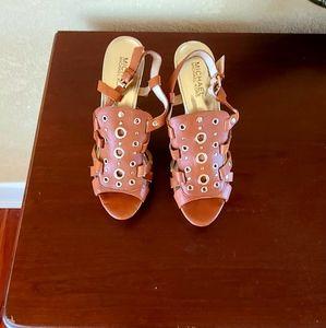 Michael Micheal Kors open toe heels w/ cork soles